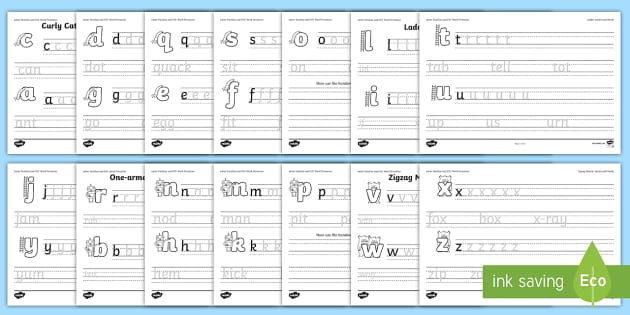 Letter Families And Cvc Words Eyfs Handwriting Sheet Pack