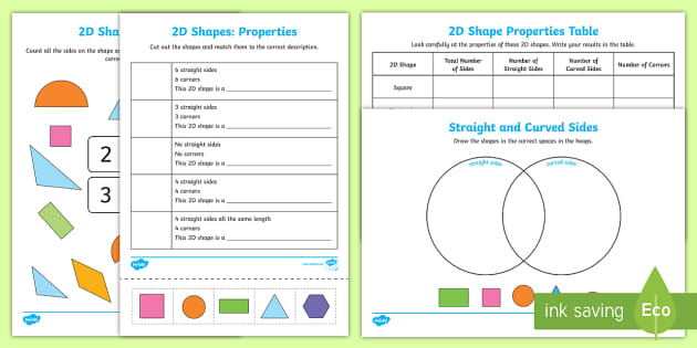 Properties Of 2d Shapes Worksheets Teacher Made