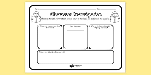 Character Investigation Reading Comprehension Activity