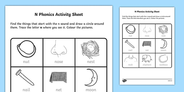 N Phonics Worksheet Worksheet Irish Worksheet