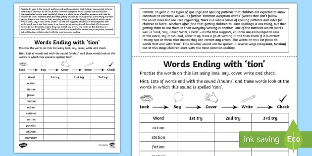 Year 2 Spelling Practice Words Ending With Tion Homework