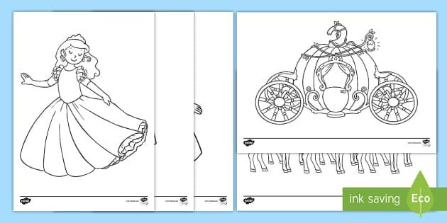 Cinderella Colouring Sheets Teacher Made
