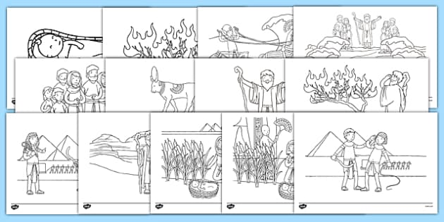 Moses Story Coloring Sheets Teacher Made