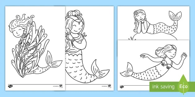Mermaid Coloring Pages Teacher Made