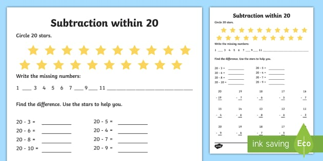 Subtraction Within 20 Worksheet Worksheet Teacher Made