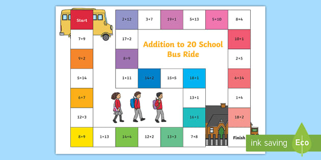 Eyfs Addition To 20 School Bus Game Teacher Made