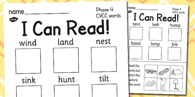 I Can Read Phase 4 Cvcc Words Worksheet Worksheet