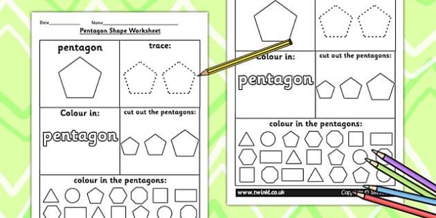 Pentagon Shape Worksheet