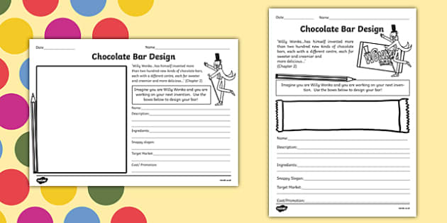 Chocolate Bar Design Task To Support Teaching On Charlie