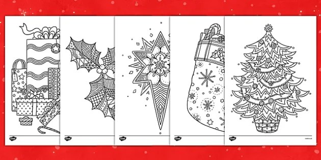 Christmas Themed Mindfulness Coloring Sheets Teacher Made