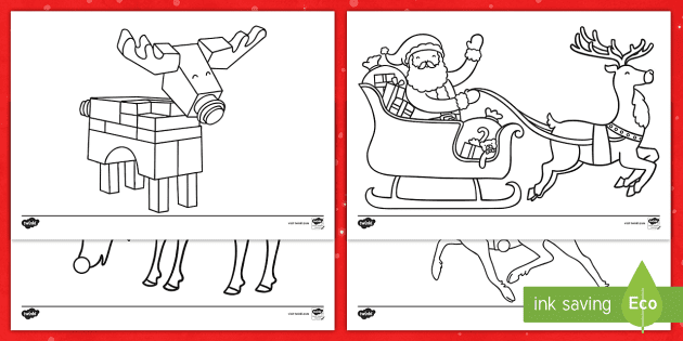 Rudolph And Reindeer Colouring Pages Worksheet
