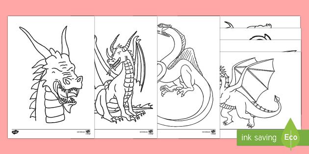 Dragon Coloring Sheets Teacher Made