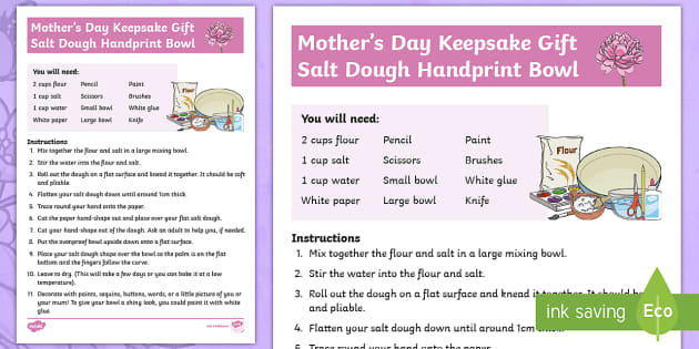 Mother's Day Keepsake Gift - Salt Dough Handprint Activity - Sunday