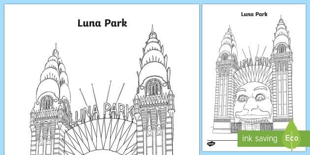 Luna Park Colouring Page Australia Sydney Australia
