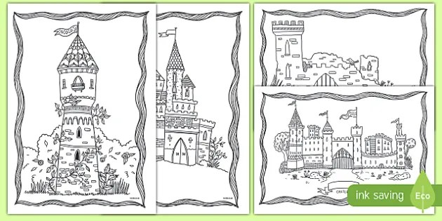 Castle Themed Coloring Pages Teacher Made