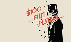 Film festival logo that looks like a man with an 8mm film camera for a head