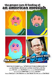 Andy Warhol style movie poster featuring Jesus and another messiah