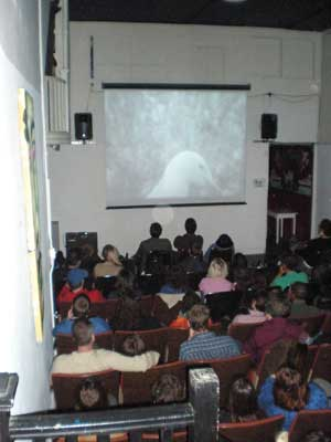 Audience sitting in the ATA microcinema theater in San Francisco