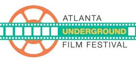 Film festival logo that has a drawing of a celluloid film strip and a movie reel