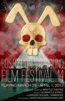 Film festival poster featuring a glittery rabbit skull