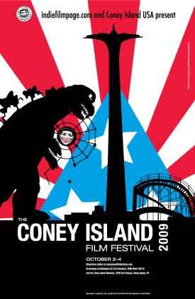 Drawing of Godzilla attacking Coney Island