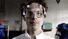 Nerdy scientist wearing goggles