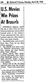 Newspaper article from 1958