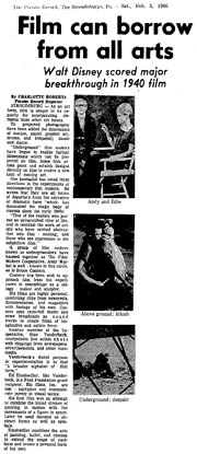 1966 newspaper article including pictures of Andy Warhol and Edie Sedgewick