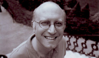 Black and white portrait of Jeff Krulik