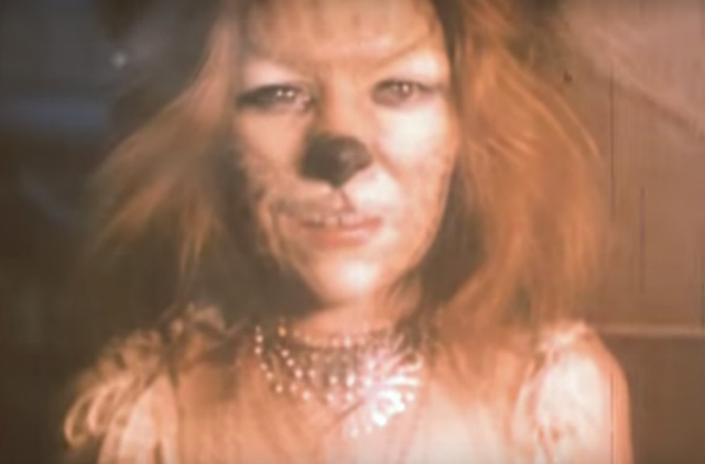Woman with a cat face