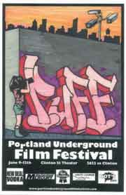 Film festival poster featuring a woman videotaping grafitti