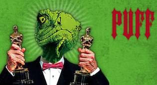 Lizard man holding two Oscar trophies