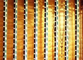 Joel Schlemowitz's strips of 16mm film mounted on a light box