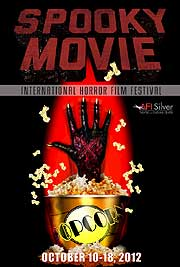 Film festival poster featuring a monster's hand reaching out from a popcorn bucket