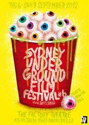Painting of eyeballs in popcorn tub for Sydney Underground Film Festival poster