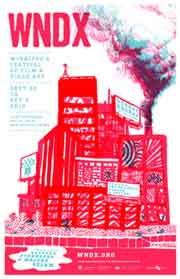 Film festival poster featuring a factory blowing smoke