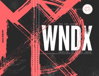 Abstract red and black festival poster for WNDX