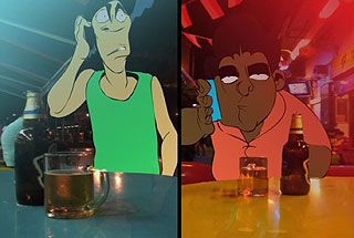Two animated men talking on their cell phones at a bar