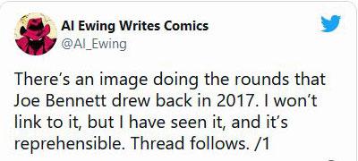 Beginning of Al Ewing's thread on Joe Bennett on Twitter