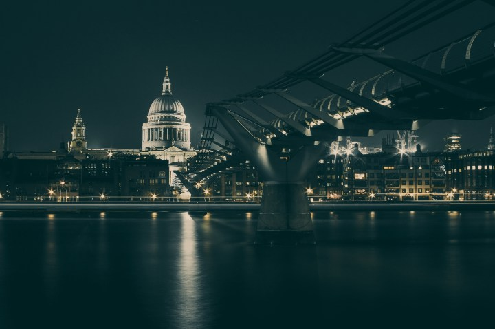 A view of St. Paul's Cathedral and the Millennium Bridge in London