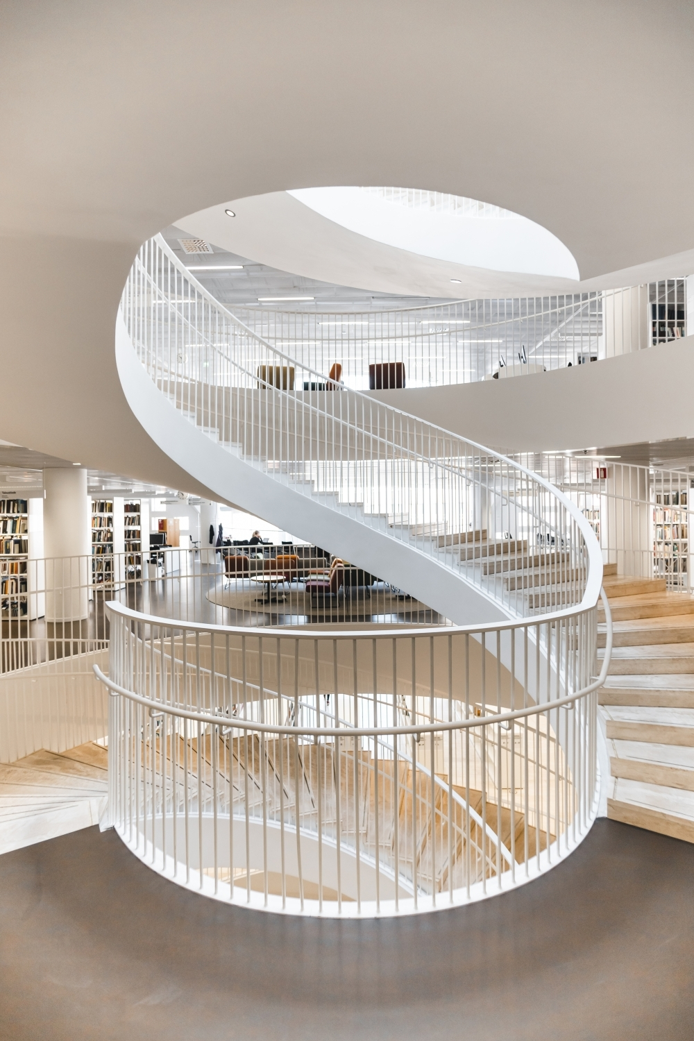 White Spiral Staircase With Stainless Steel Railings Photo – Free   Grey And White Banister   Green White   Staircase   Gray Stained   Fixed Wall Painted   Light Grey Grey