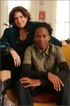 """My heart's son"": Laura Simms took Ishmael Beah under her  wing, helping him immigrate to the USA."