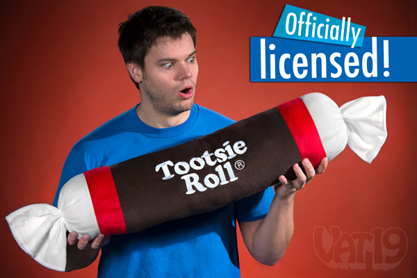 tootsie roll plush candy pillow