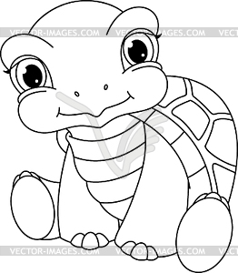 baby turtle coloring page vector clipart