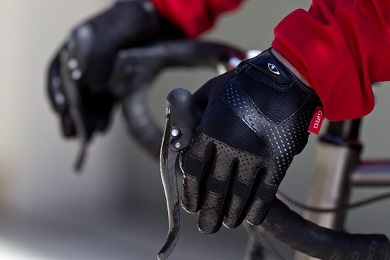 The back of the LX glove combines leather and wool stretch fabric