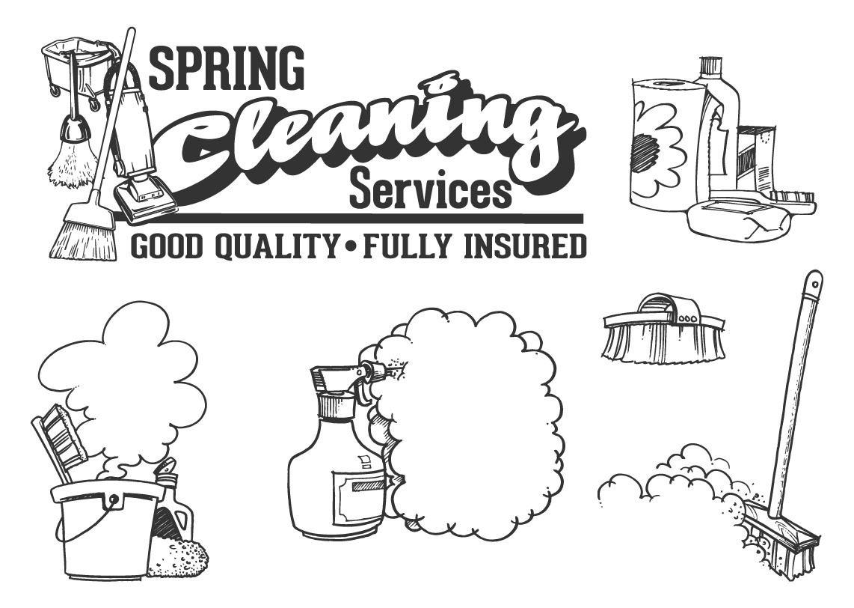 Servicio De Limpieza Utensilios De Dibujos Animados
