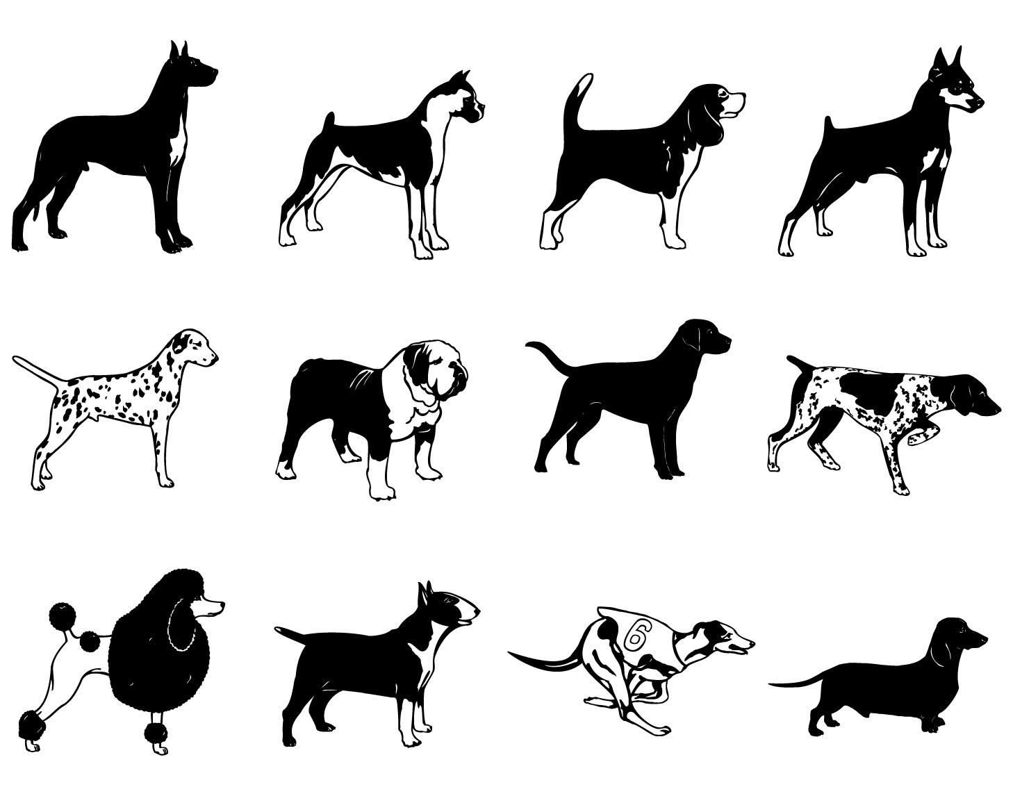 Black Amp White Breed Dog Silhouette Pack