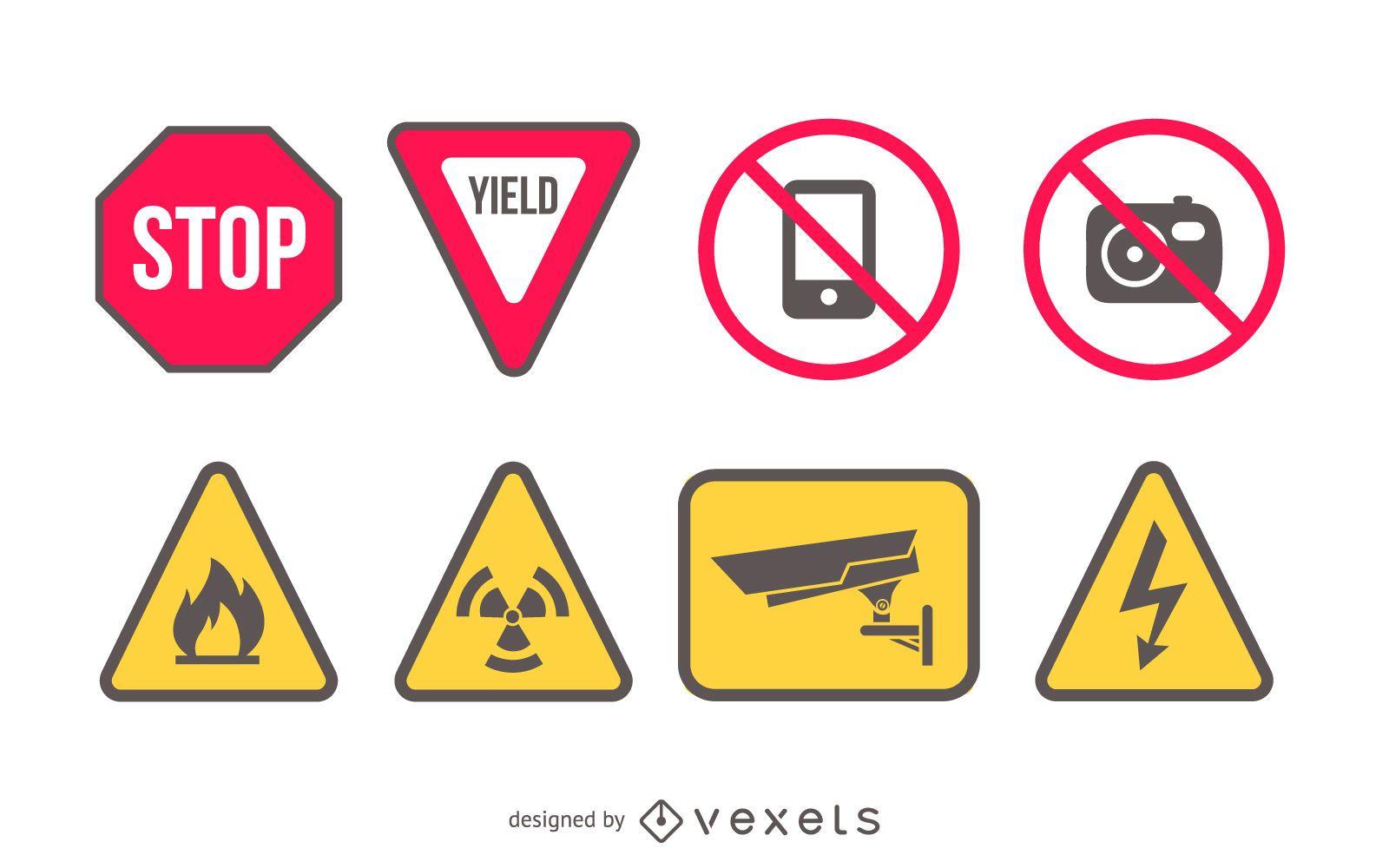 Vector Printable Warning Signs