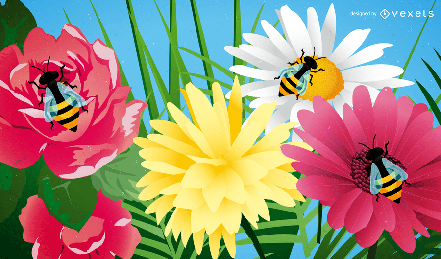 Cute Bee With Flowers   Vector download Cute Bee With Flowers