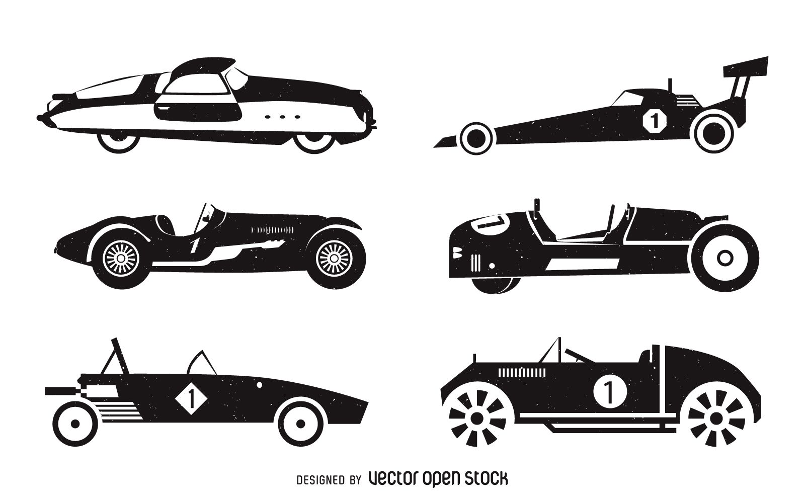 Vintage Racing Cars Silhouette Set